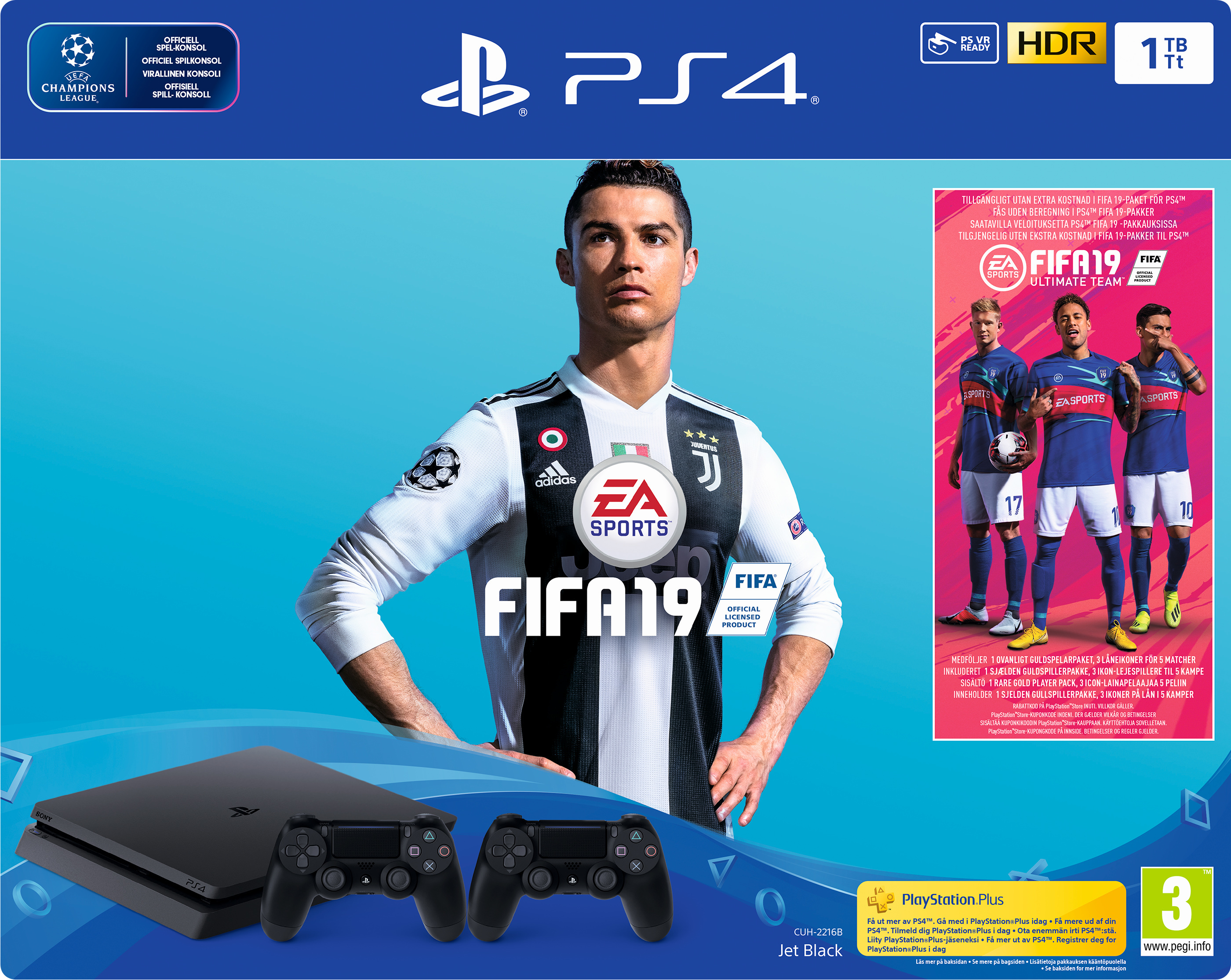 PlayStation 4 Slim (1TB, Jet Black) + 2 Controller + FIFA 19