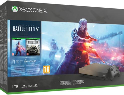 Xbox One X (1TB, Gold Rush, Limited Edition) + Battlefield V
