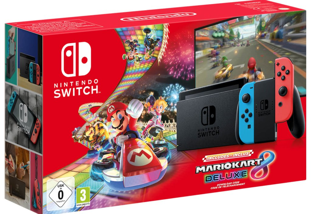 Switch v2 (Neon Blue and Neon Red) + Mario Kart 8 Deluxe