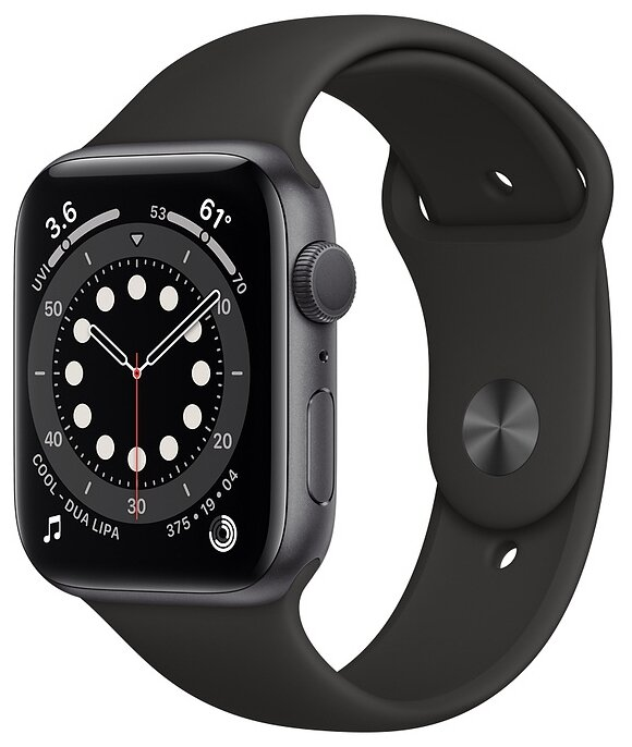 Watch S6 44mm Space Gray Aluminum Case with Black Sport Band
