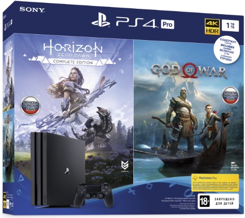 PlayStation 4 Pro (1TB, Jet Black) + God of War + Horizon