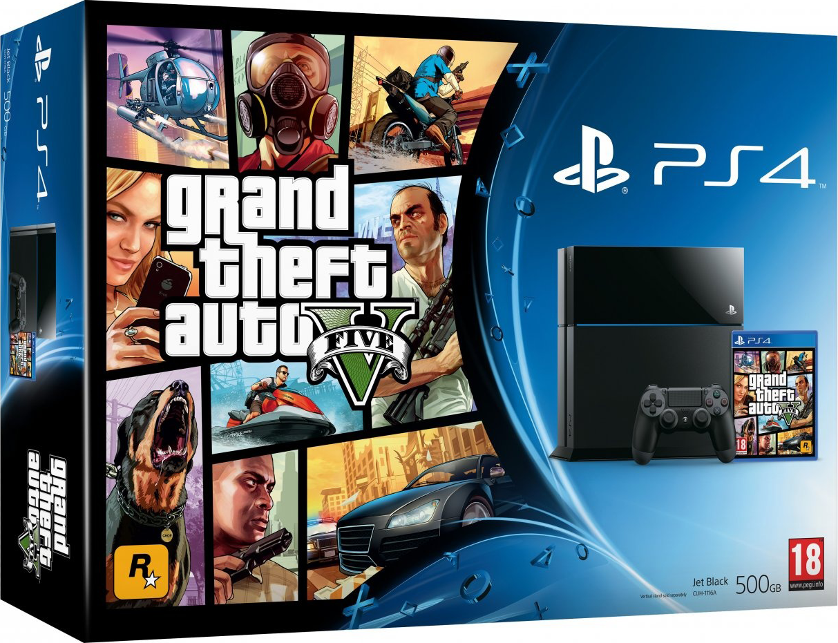 PlayStation 4 (500GB, Jet Black) + Grand Theft Auto V (GTA 5)
