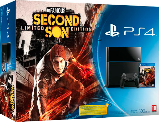 PlayStation 4 (500GB, Jet Black) + Infamous: Second Son