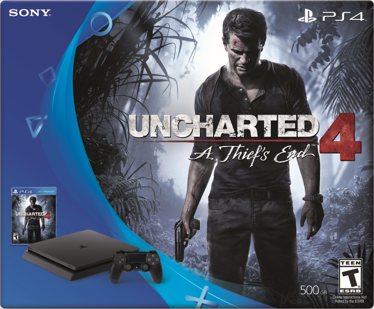 PlayStation 4 Slim (500GB, Jet Black) + Uncharted 4