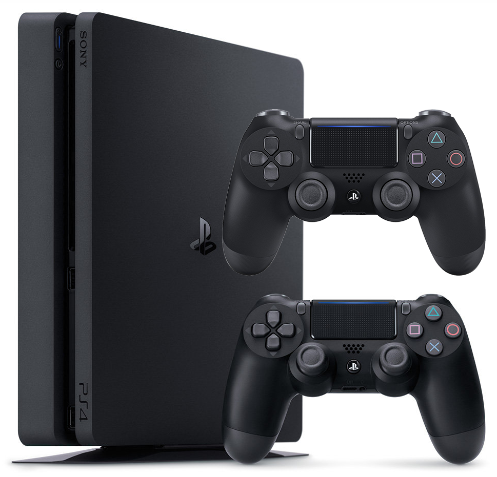 PlayStation 4 Slim (500GB, Jet Black) + 2 Controller