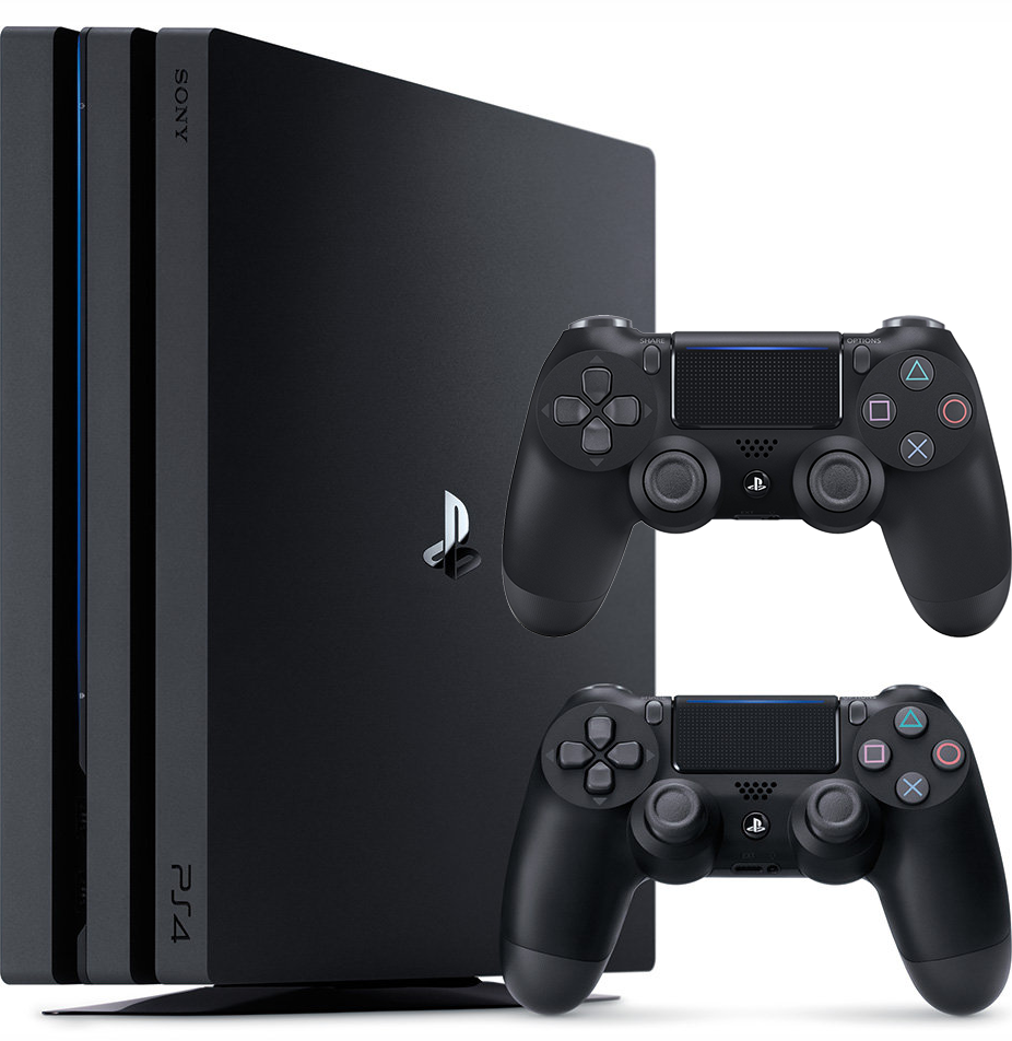 PlayStation 4 Pro (1TB, Jet Black) + 2 Controller